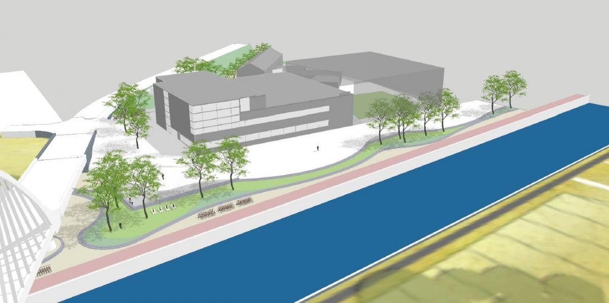 Aanleg stedelijk plein rond het zwembad parking gedeeltelijk afgesloten stad halle - Ontwikkeling rond het zwembad ...